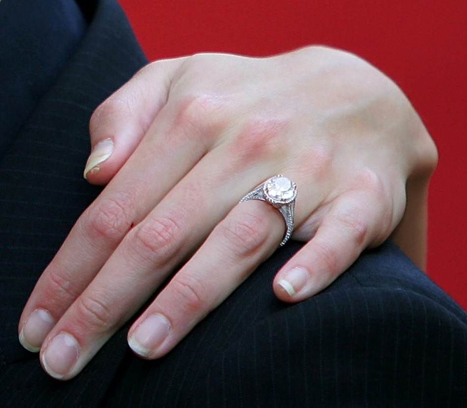 U.S. actress Katie Holmes engagement ring is seen as she arrives at the UK premier of Tom Cruises latest film