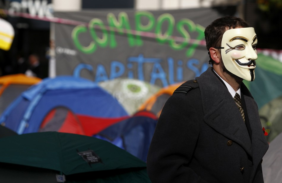 Occupy protester wears a mask