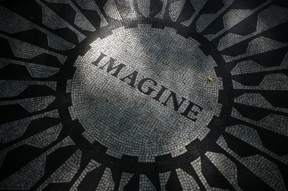 "The ""Imagine"" circle in memory of Lennon is seen in the Strawberry Fields section of New York's Central Park"