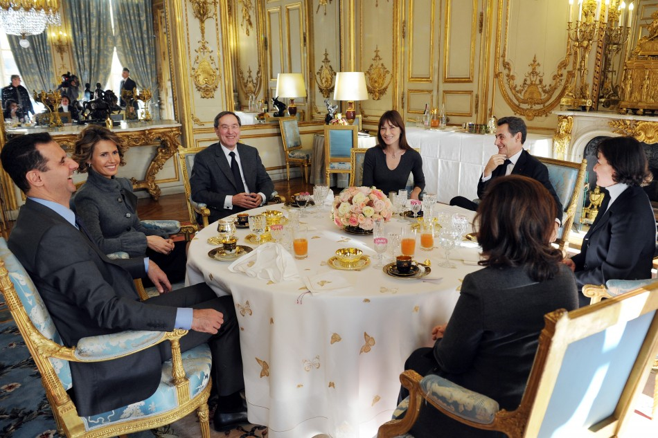 France's President Sarkozy shares a working lunch with Syria's President Bashar al-Assad at the Elysee Palace in Paris