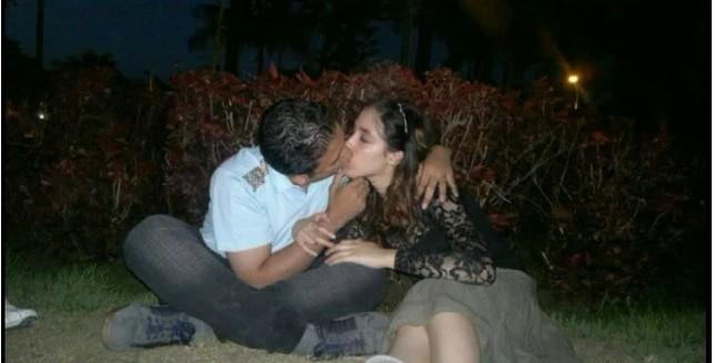 Aliaa Magda Elmahdy kissing her boyfriend Kareem Amer