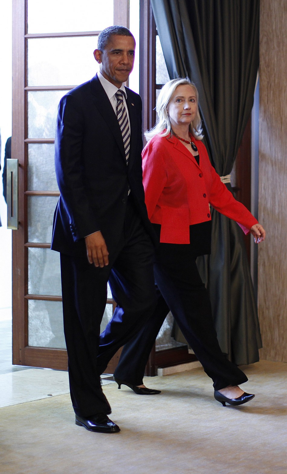 U.S. President Barack Obama and Hillary Clinton