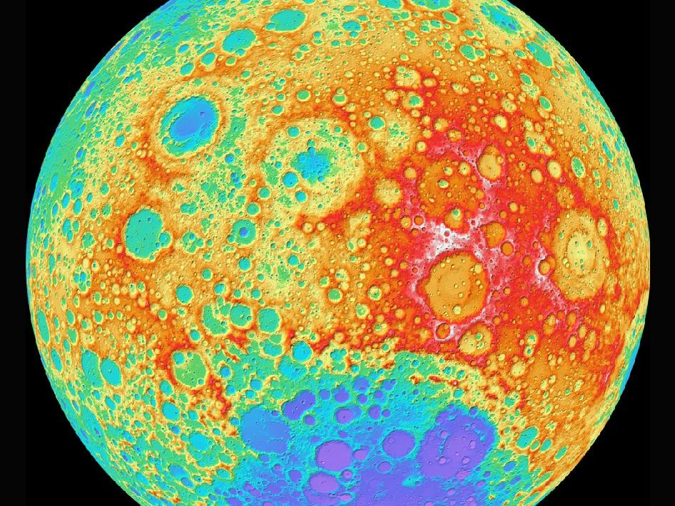 LROC WAC color shaded relief of the lunar farside.