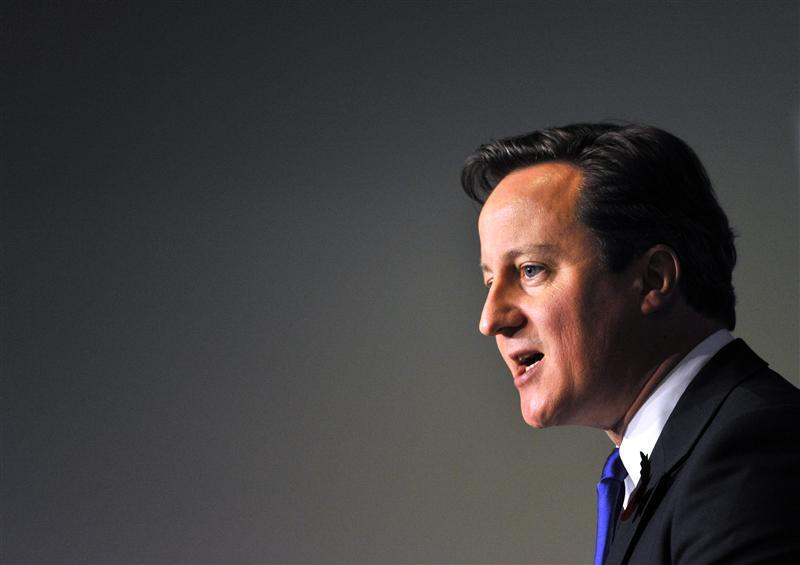 Prime Minister Cameron addresses during a news conference on the second day of the G20 Summit in Cannes