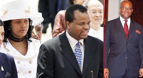 Mswati and Queen Nothando Dube left and love rat Ndumiso Mamba right