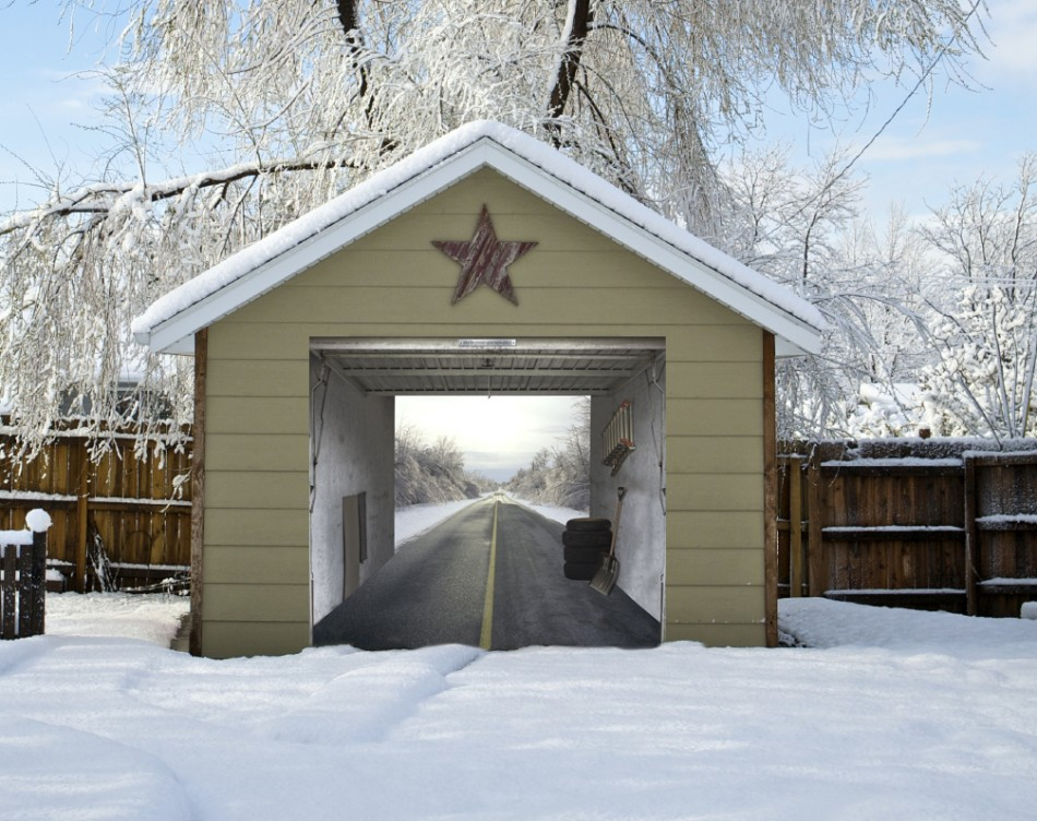 A long winter road on a detatched building