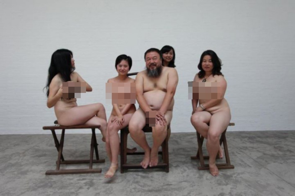 Handout of dissident Chinese artist Ai and four women posing naked