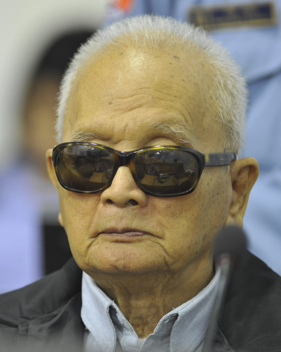 Former Khmer Rouge leader Nuon Chea attends his trial at the Extraordinary Chambers in the Courts of Cambodia (ECCC) on the outskirts of Phnom Penh in this November 22, 2011