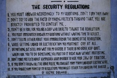 Sign outlining the security rules in the notorious Prison S-21