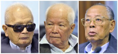 Khmer Rouges Nuon Chea, Khieu Samphan and Ieng Sary attend trial on the outskirts of Phnom Penh