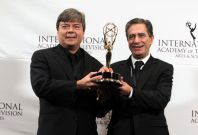 Telenovela award winners Bokel and Marques pose for photographers at the International Emmy Awards