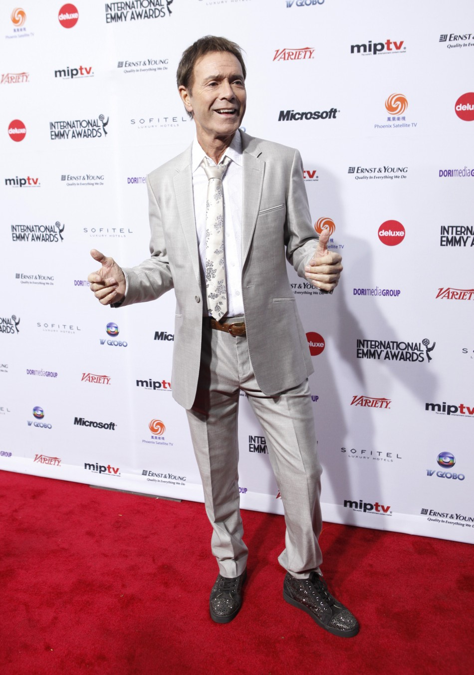 British musician Cliff Richards arrives at the International Emmy Awards in New York