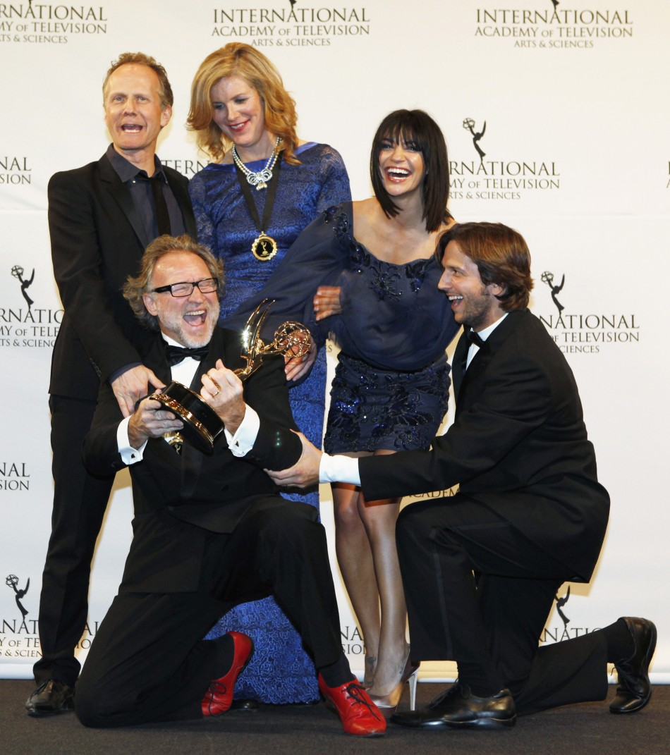 Producers Staermose and Rydholm pose with actors Szohr and Brichta at the International Emmy Awards in New York