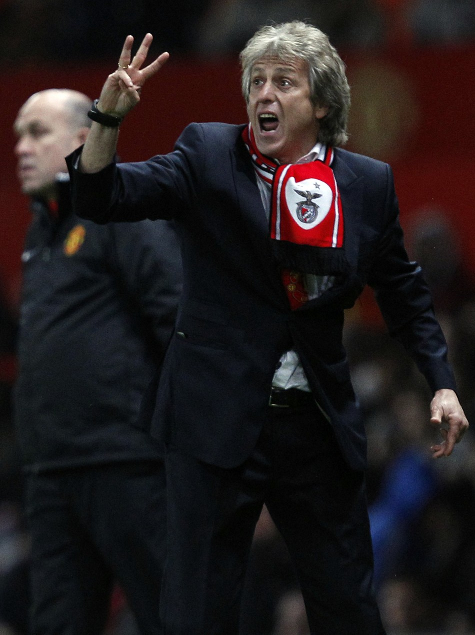 Benficas Jorge Jesus reacts during their Champions League soccer match against Manchester United in Manchester