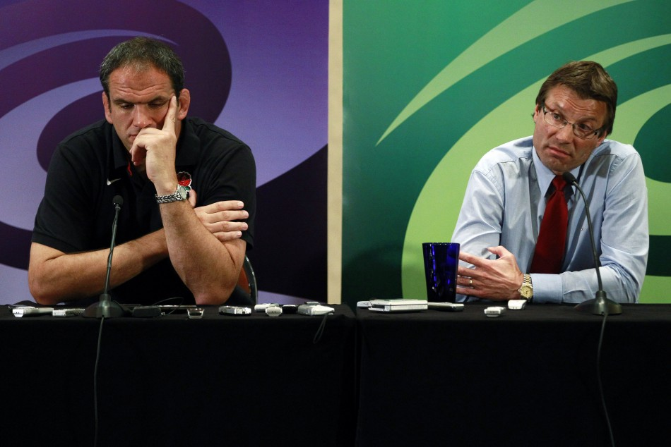 England coach Martin Johnson and director of elite rugby Andrew at a news conference in Auckland