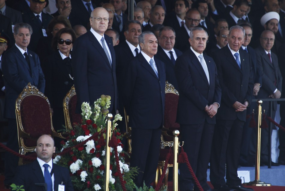 Lebanons President Suleiman and other officials attend a military parade to celebrate the 68th anniversary of Lebanons independence day in downtown Beirut