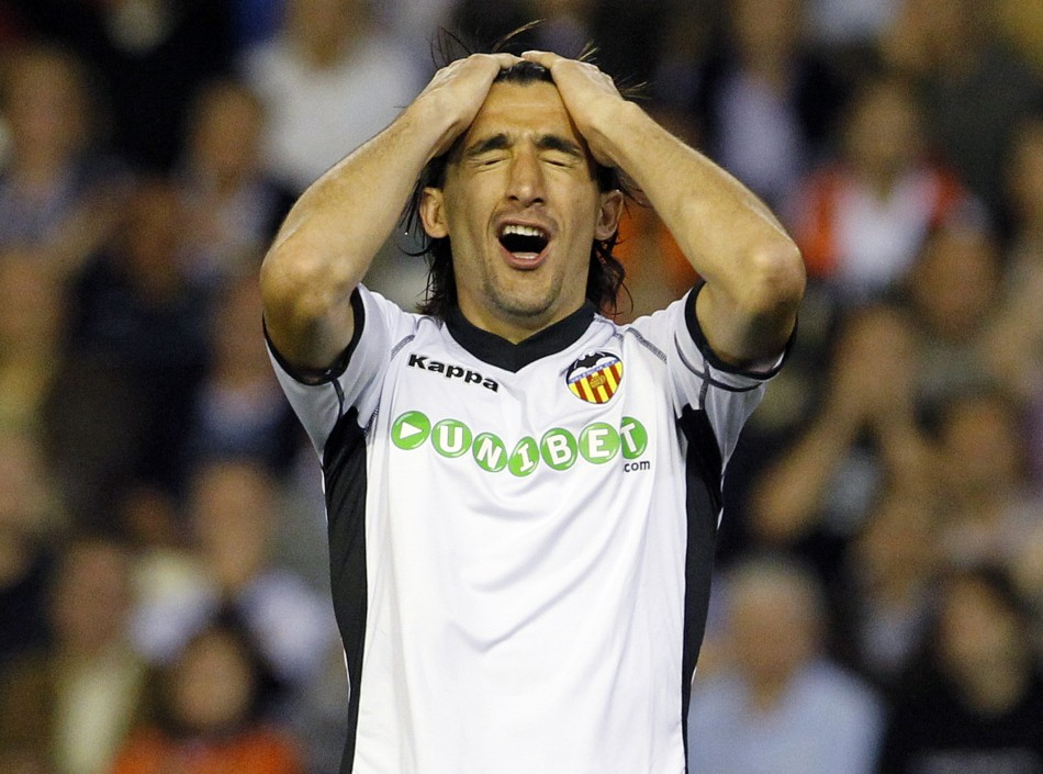 Valencia's Topal reacts during their Spanish first division soccer match against Villarreal in Valencia