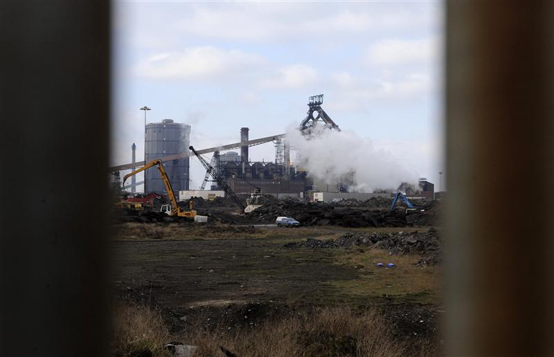 A general view shows the Corus steelworks in Redcar