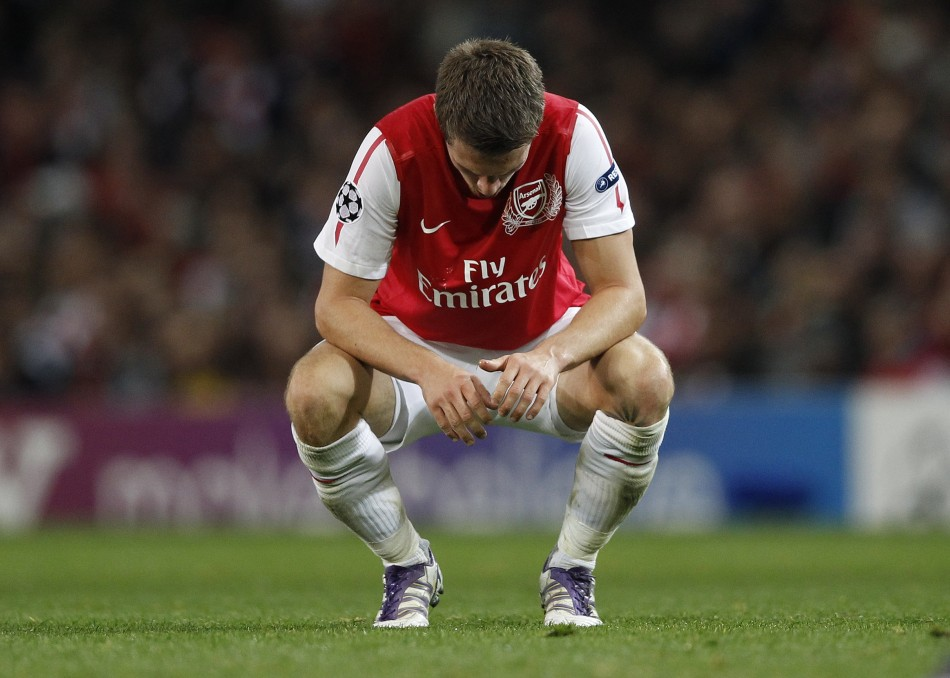 Arsenal's Ramsey reacts during their Champions League Group F soccer match against Marseille in London
