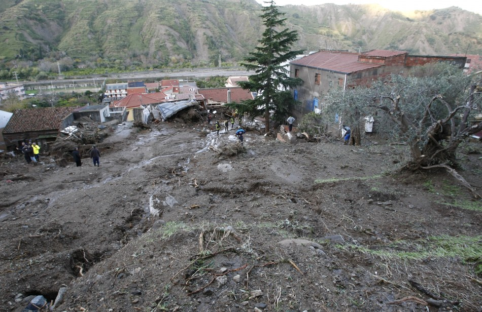 An area affected by a landslide is seen at Scarcelli, a district of Saponara, in the province of Messina, in Sicily November 23, 2011.