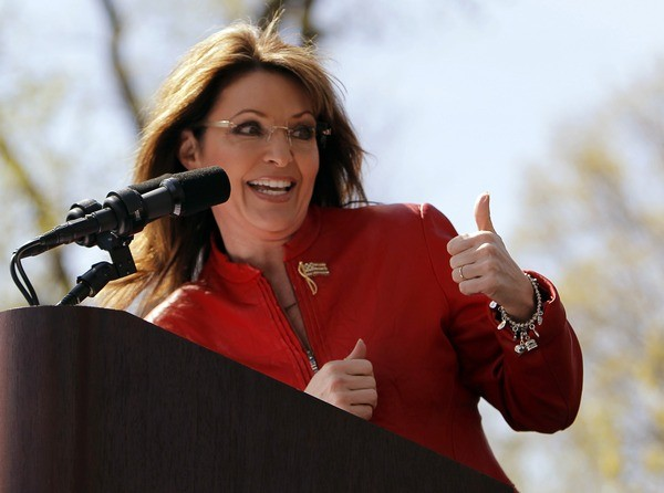 Former Alaska Governor and 2008 Republican vice presidential nominee Sarah Palin speaks at a Tea Party Express rally.