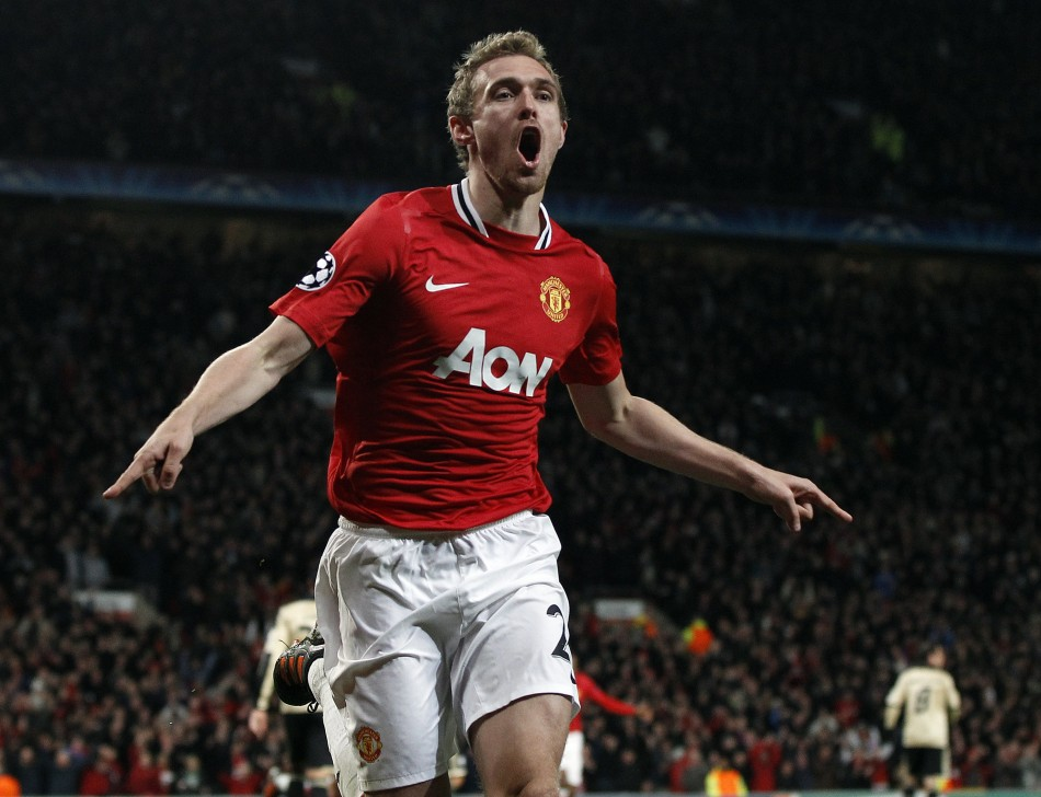 Manchester United's Fletcher celebrates his goal against Benfica during their Champions League Group C soccer match in Manchester