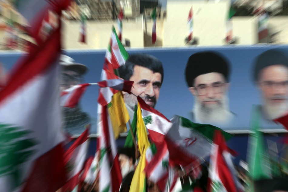 Lebanon's Hezbollah celebrate the visit of Iranian President Mahmoud Ahmadinejad during a rally in the south Lebanese town of Bint Jbeil