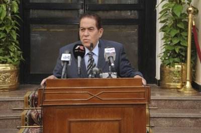 Egyptian new Prime Minister Kamal Ganzouri speaks at a news conference at the Defense Ministry in Cairo