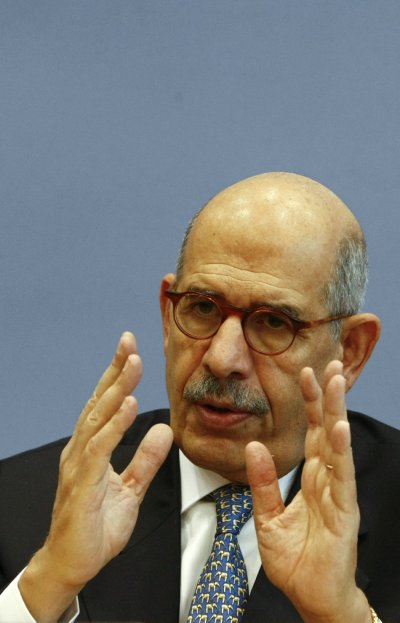 Former International Atomic Energy Agency Director General El Baradei addresses a news conference in Berlin