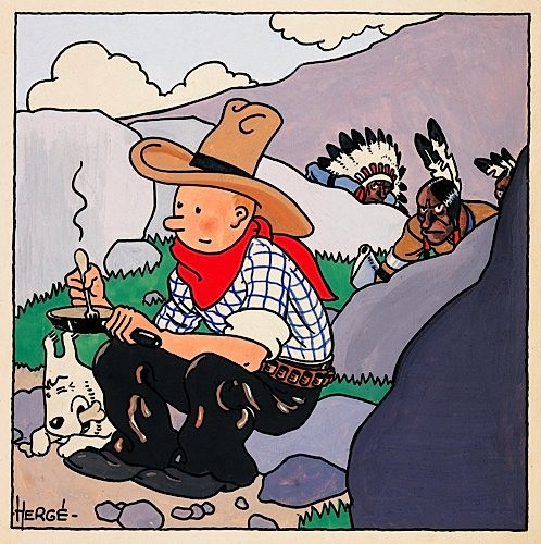 An original Herg painting for the cover of the first Tintin album Tintin en Amrique Tintin In America made in 1932, estimated at about 280, 000, became the highest comic book art ever sold in the world for a record 764, 200.