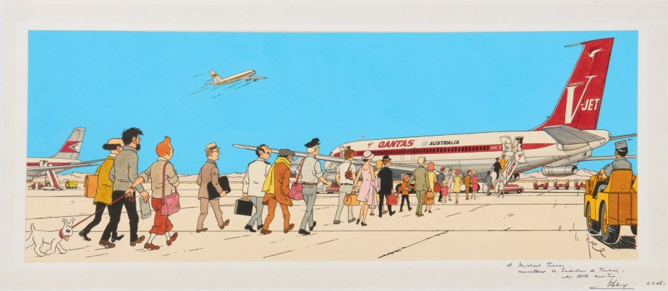 Among other items, Hergs original drawing for another Tintin adventure, Flight 714 to Sydney, was auctioned at 90,100, about three times the original price of 25,000 and 35,000.