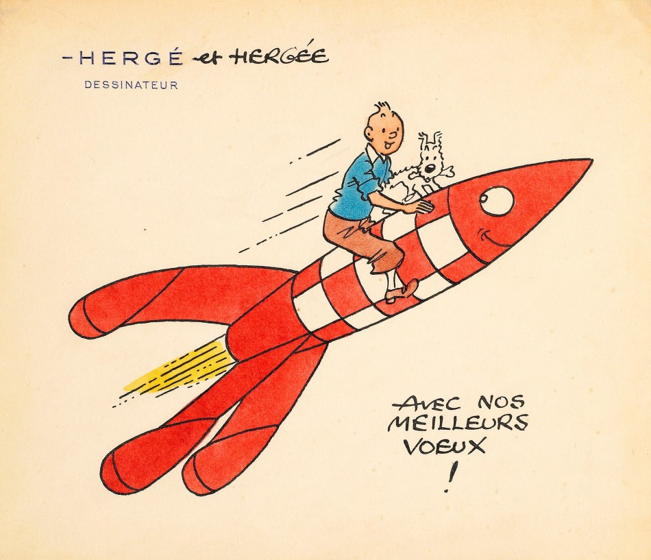 Estimated between 10,000 and 15,000, a handmade greeting card by Herg featuring a drawing of Tintin and his faithful dog Snowy perched on the famous red-and-white rocket from the moon adventures fetched 40,000.