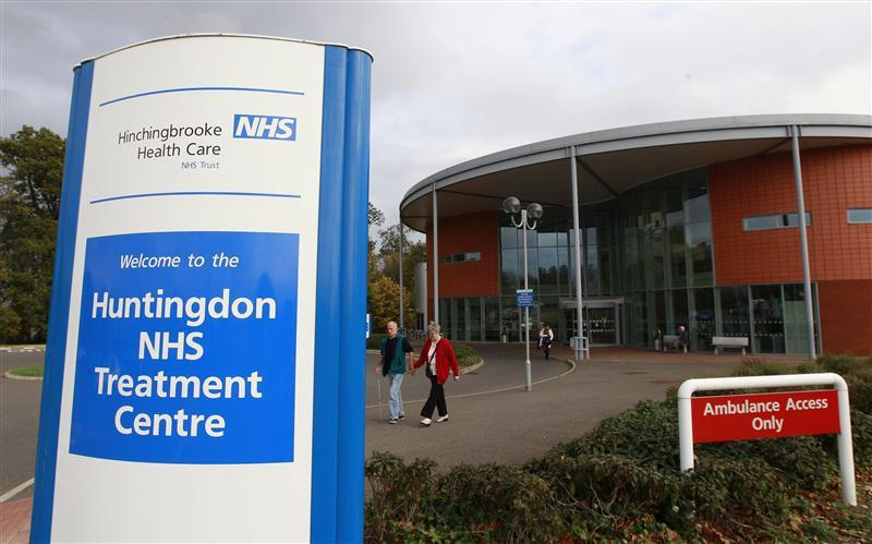 People leave Hinchingbrooke Hospital in Huntingdon