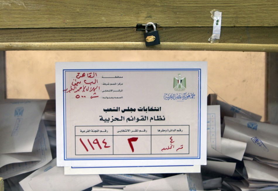 A sealed ballot box is seen after voting ended at a polling station during parliamentary elections in Cairo