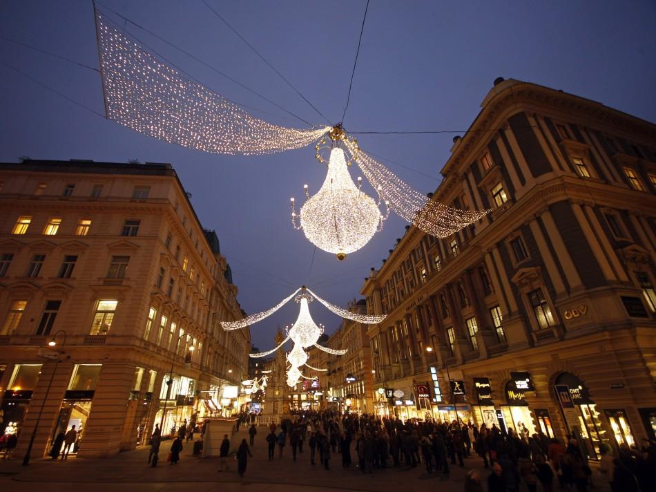 Christmas lights illuminate Viennas city centre Am Graben