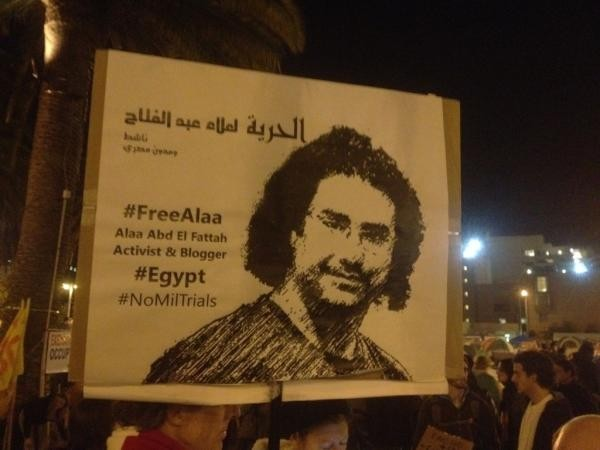 Poster calling for Egyptian blogger Abd El Fattah to be released