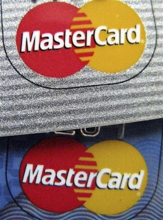 The MasterCard logo is seen on two credit cards