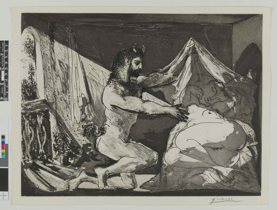 Faun uncovering a sleeping woman