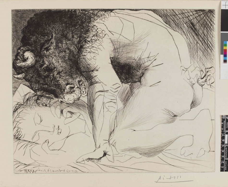 Minotaur caressing a sleeping woman