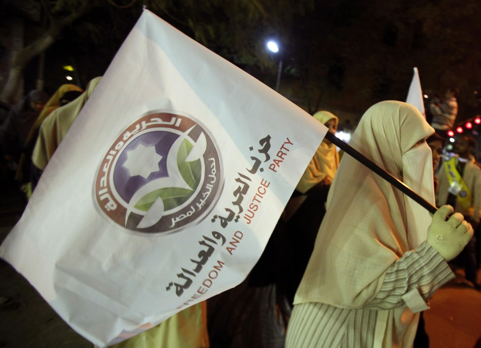 Supporters of Egypt's Muslim Brotherhood Freedom and Justice Party at a rally