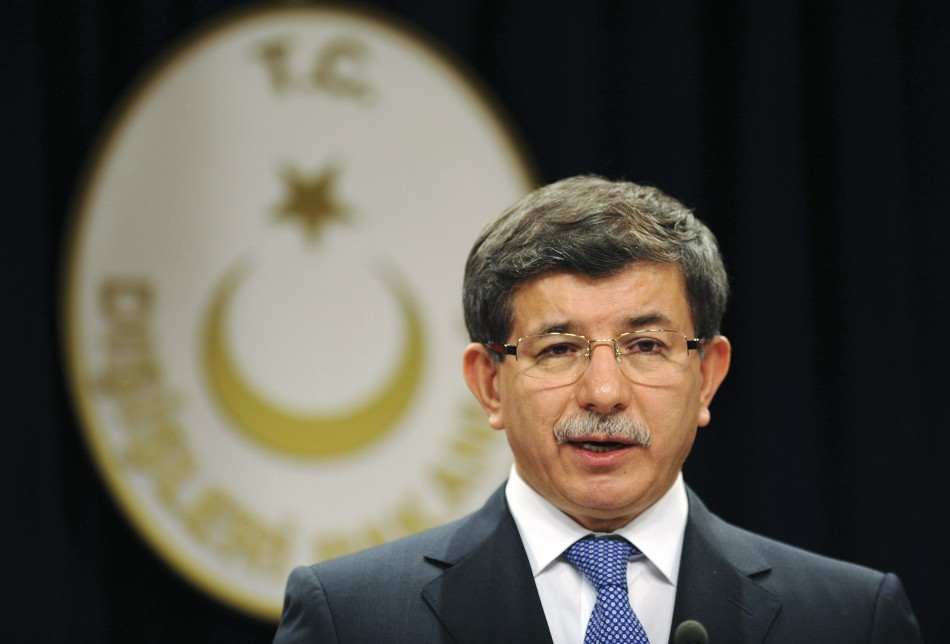 Turkey's Foreign Minister Davutoglu speaks during a news conference in Ankara