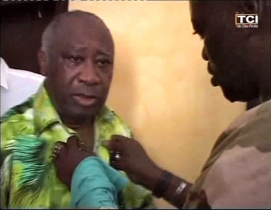 Ivory Coast's Laurent Gbagbo is seen in this video grab from Ivory Coast Television after he was arrested by forces loyal to his rival presidential claimant Alassane Ouattara, in Abidjan