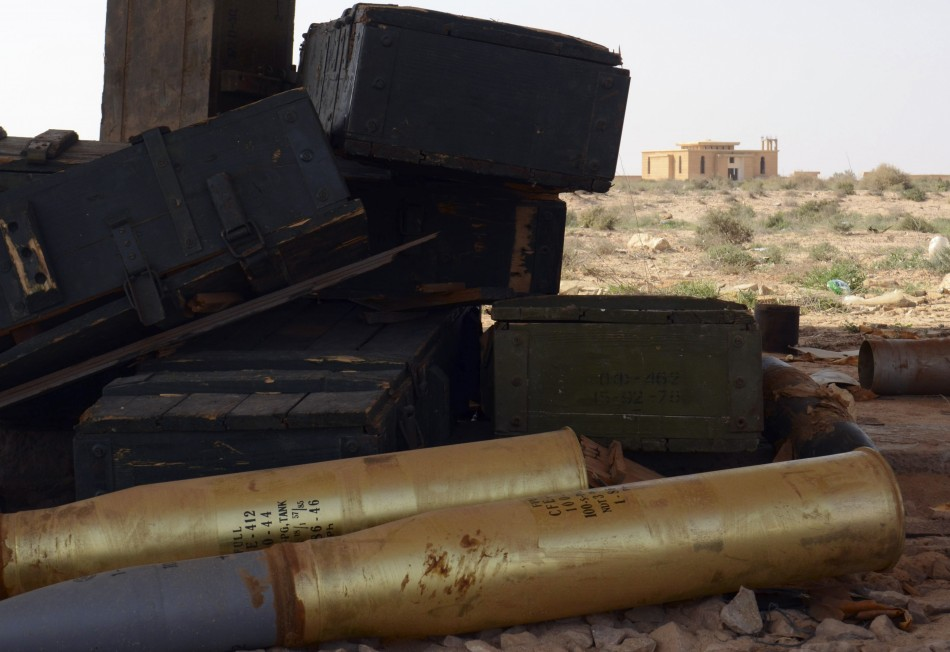 Munitions are seen inside an abandoned bunker complex near the eastern Libyan city of Ajdabiyah
