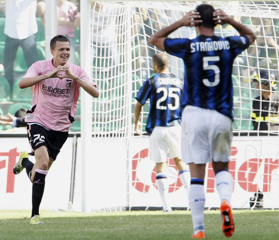 Palermo's Ilicic celebrates after scoring against Inter Milan during their Italian Serie A soccer match in Palermo