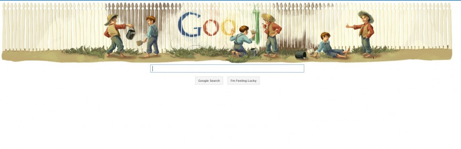 The Google Doodle is an illustration from a much loved scene from his most well-known novel The Adventures of Tom Sawyer.