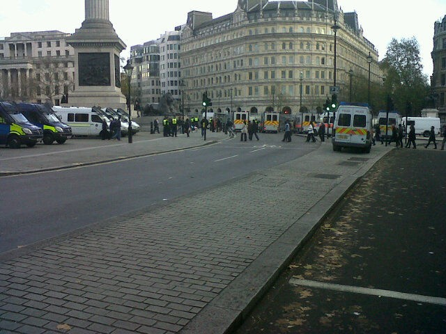 Police vans Traf Sq