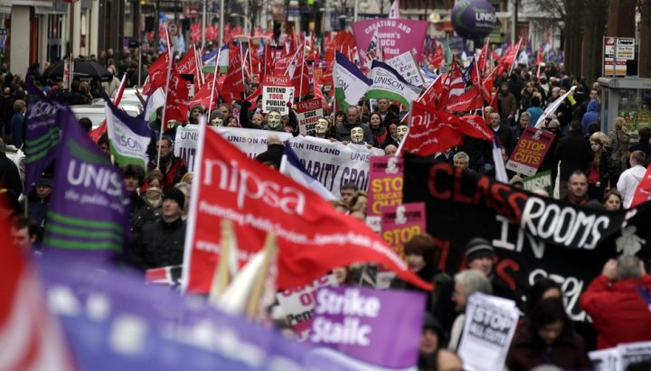 Belfast strike march
