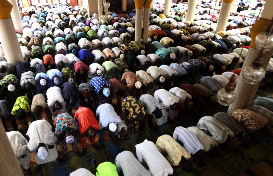 Muslim faithful attend Friday prayers at the Central mosque in Nigeria's commercial capital Lagos