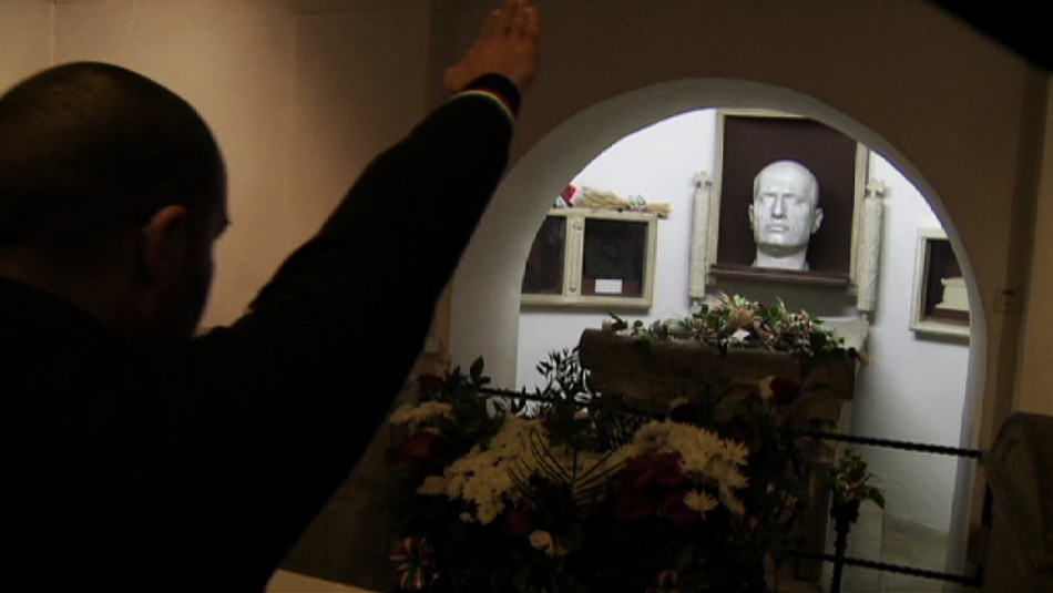 The current tomb of Mussolini in the family crypt in the cemetery of Predappio.