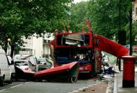 File photo of bomb destroyed double-decker bus in Tavistock Square in central London.